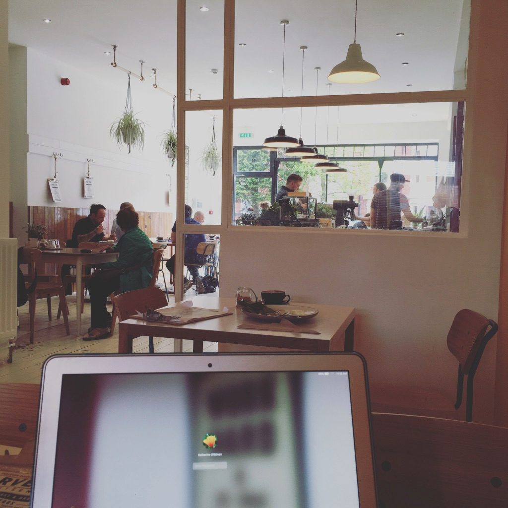 A coffee shop and laptop, perfect for capturing inspiration when it strikes