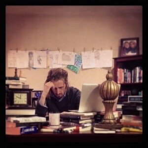 Copyblogger's Demian Farnworth at his desk