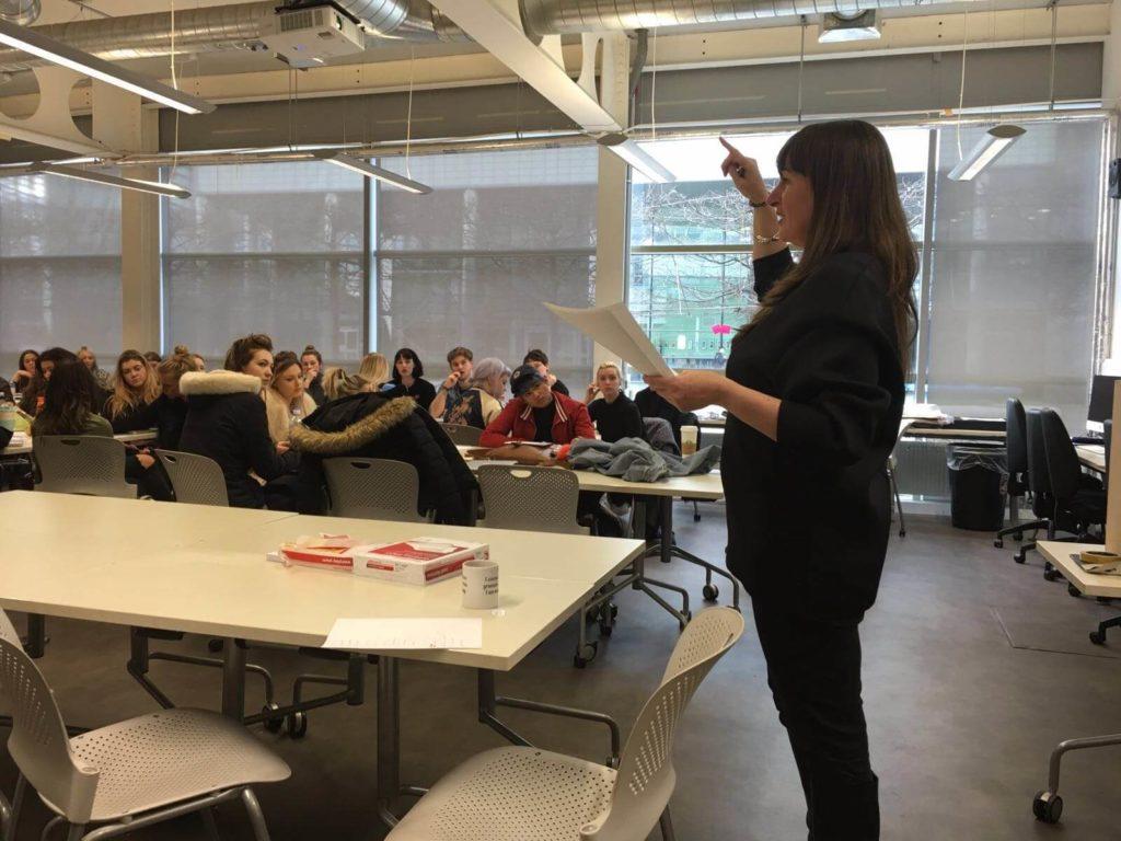 Katherine Wildman lecturing at Northumbria University